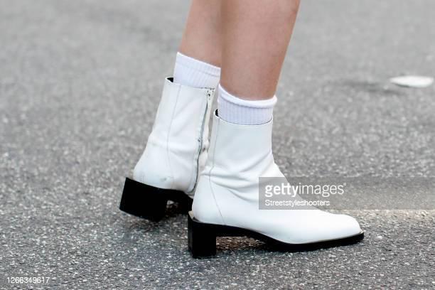 White socks ind white booties seen during Copenhagen Fashion Week Spring/Summer 2021 on August 10 2020 in Copenhagen Denmark