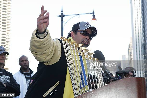White Sox manager Ozzie Guillen waves to the crowd at the White Sox victory rally in downtown Chicago. The City of Chicago estimated that 1.75...