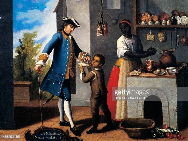 White Spanish man black woman and mixed race son painting on the theme of miscegenation Mexico 18th century