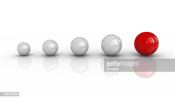 White Spheres and One Red