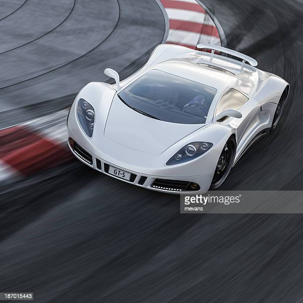 White Sports Car on a Racetrack