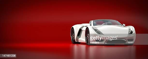 White Sports Car on a Red Background