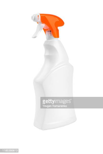 white spray bottle isolated on white background - spray bottle stock pictures, royalty-free photos & images