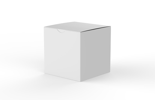 White square blank box isolated on white background, 3d illustration 1047557972
