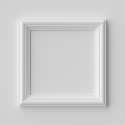 White square frame for photo on white wall with shadows 1169177878