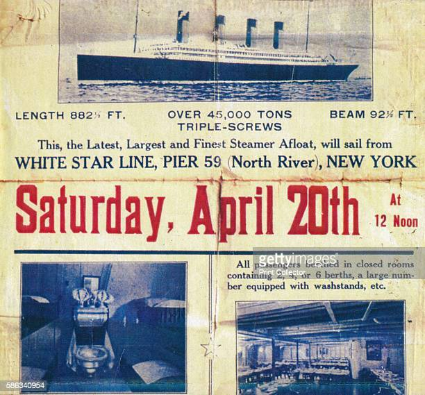 White Star Line poster to promote the Titanic's return trip from New York 1912 A poster prepared by the White Star Line's New York office to promote...
