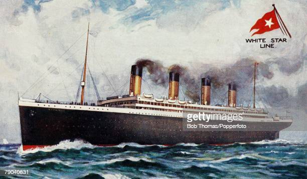 A White Star Olympicclass vessel possibly the RMS Titanic or the RMS Olympic circa 1912 The postcard has been doctored with the name 'Titanic'...