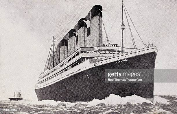 A White Star Olympicclass vessel possibly the RMS Titanic or the RMS Olympic circa 1912 The name 'Titanic' appears on the bow but this may have been...