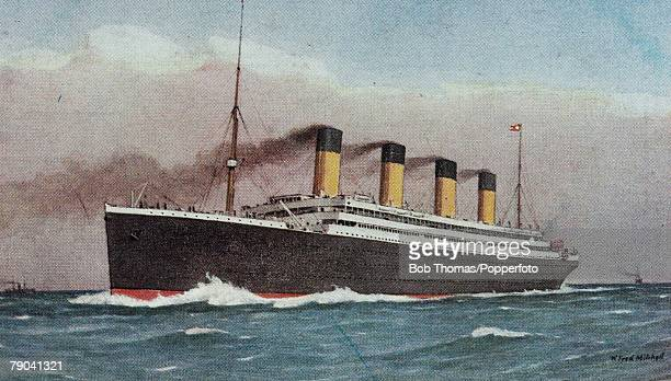 A White Star Olympicclass vessel possibly the RMS Titanic or the RMS Olympic circa 1912