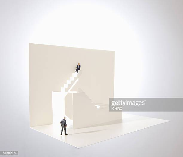 White steps with businessmen