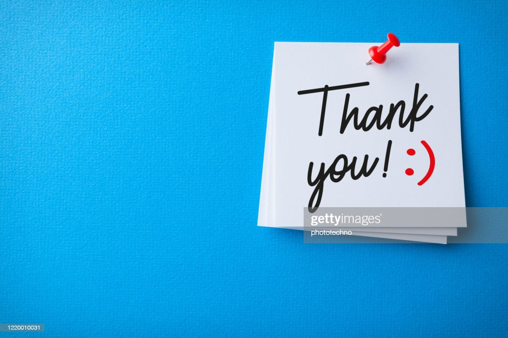 White Sticky Note With Thank You And Red Push Pin On Blue Background : Stock Photo