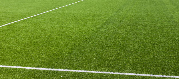 White stripe on the green soccer field from top view - gettyimageskorea