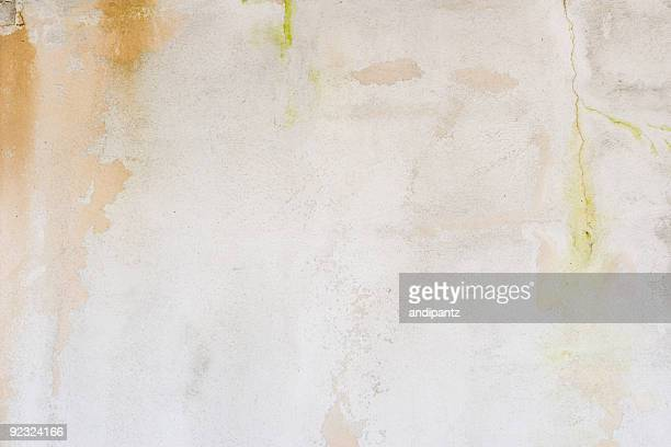 White stucco wall background with cracks and stains