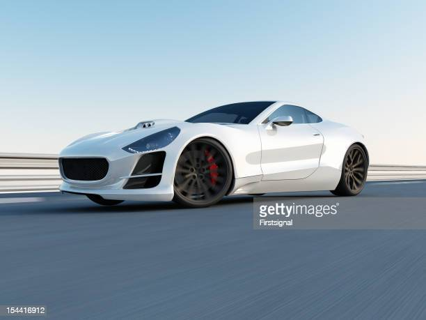 white super car on the racing track