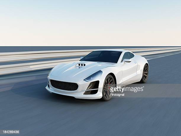 white super car on the racing track - prestige car stock pictures, royalty-free photos & images