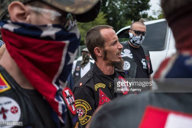 White supremacist racist organization Ku Klux Klan members are seen during a rally in Madison Indiana United States on August 31 2019
