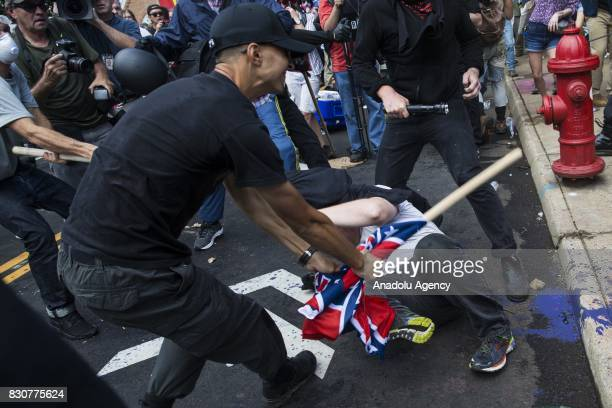 White Supremacists and counter protestors clash at Emancipation Park where the White Nationalists are protesting the removal of the Robert E Lee...