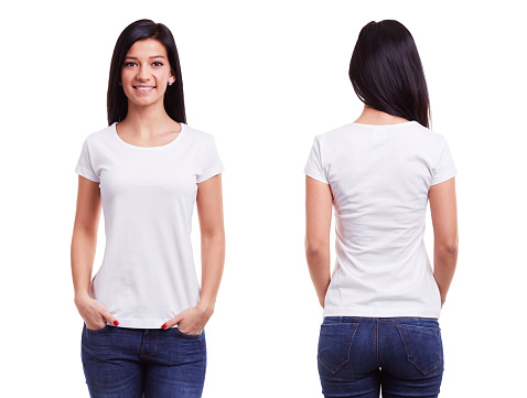 White t shirt on a young woman template 539983994