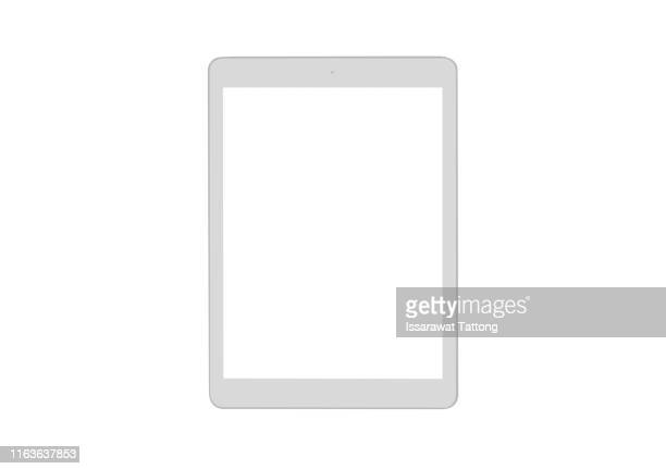 white tablet computer isolated on over white background - digital tablet stock pictures, royalty-free photos & images