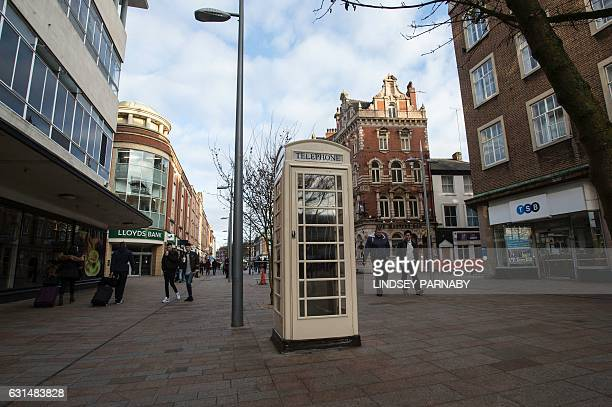 A white telephone box is seen in Hull city centre northern England on January 8 2017 Hull is the UK City of Culture 2017 and will host a yearlong...