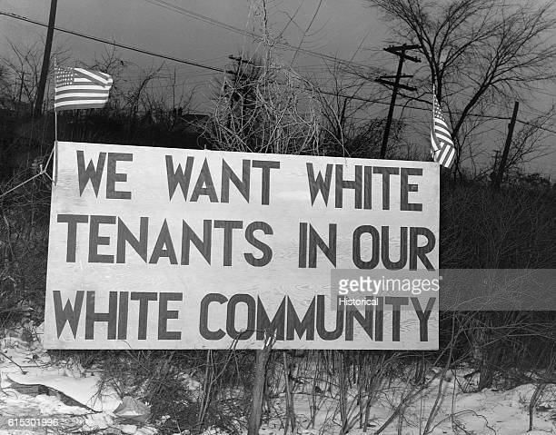 White tenants seeking to prevent African Americans from moving into the Sojourner Truth Homes, a federal governmental housing project, erected this...