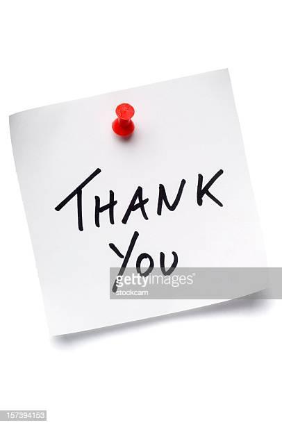 White Thank You post-it note