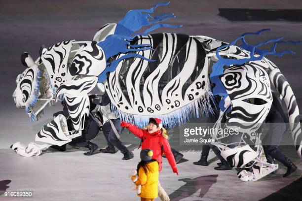 White Tiger Five Kids perform during the Opening Ceremony of the PyeongChang 2018 Winter Olympic Games at PyeongChang Olympic Stadium on February 9...