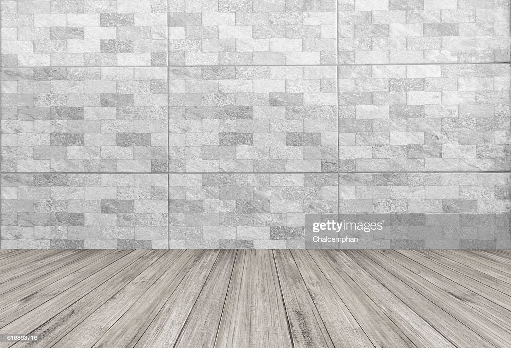 White tile background with wooden floor : Stock Photo
