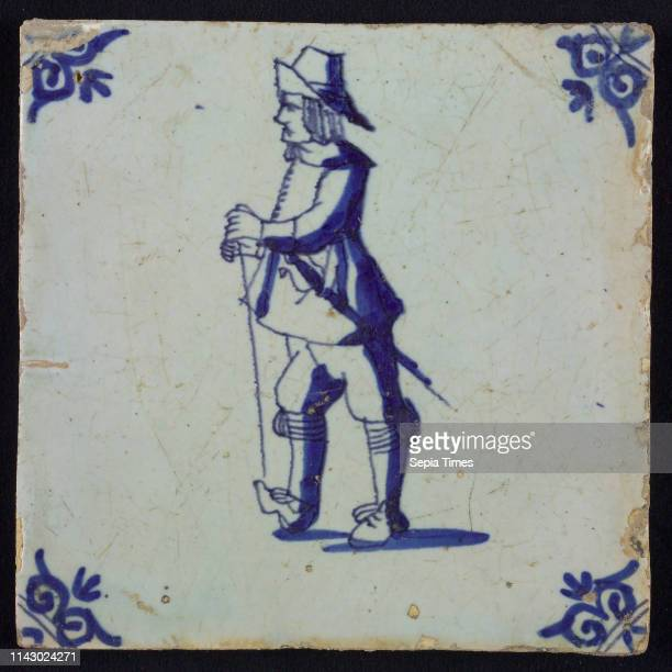 White tile with blue warrior with sword stick and hat corner pattern ox head wall tile tile sculpture ceramic earthenware glaze baked 2x glazed...