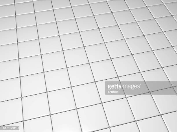 White tiled floor from an angle