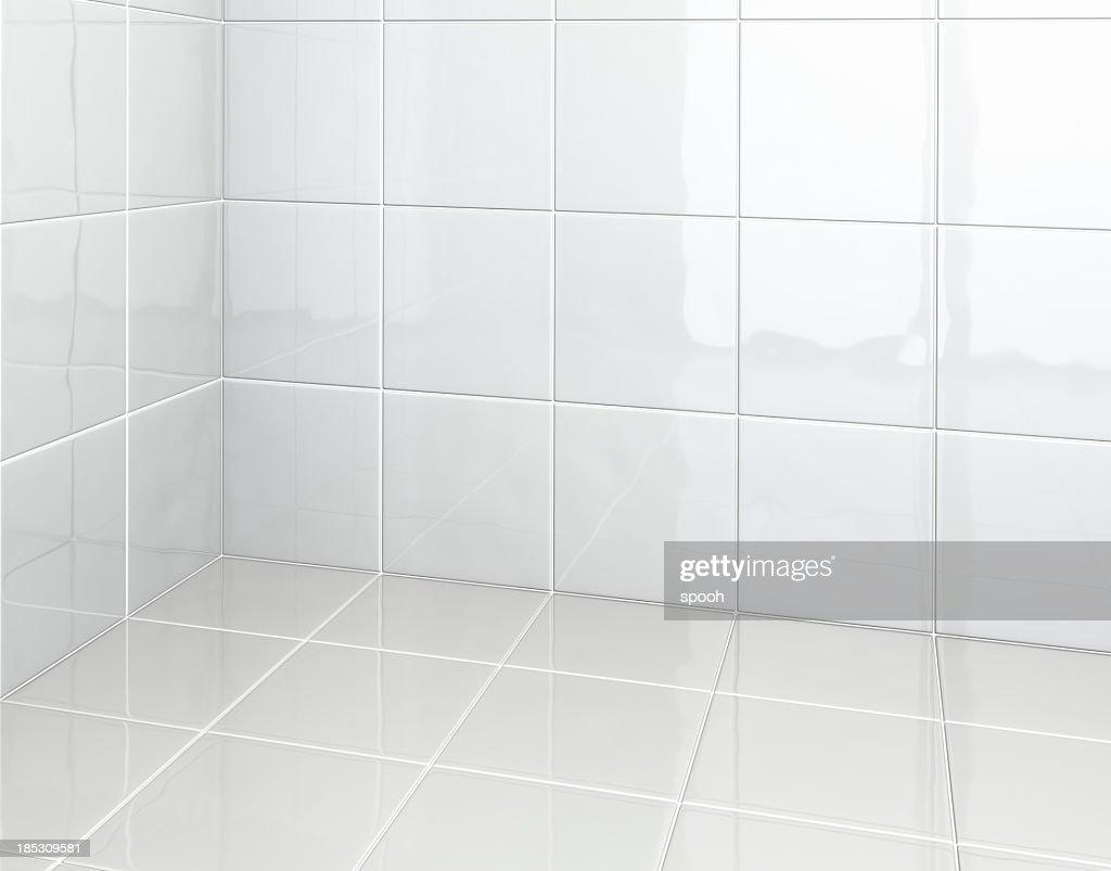 White Tiles in bathroom : Stock Photo