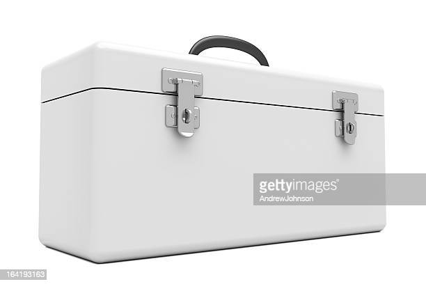 white toolbox - toolbox stock photos and pictures