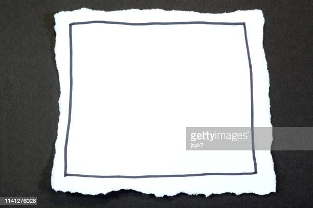 white torn paper - black border stock pictures, royalty-free photos & images