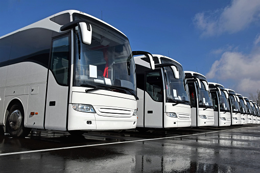 White tourist buses in a row 945297486