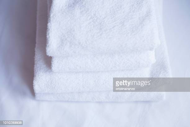 white towels - towel stock pictures, royalty-free photos & images