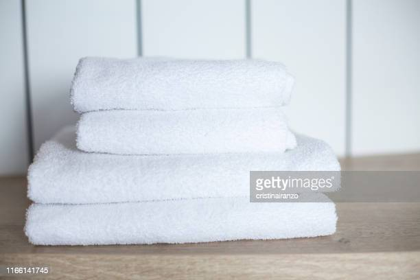 white towels - タオル ストックフォトと画像