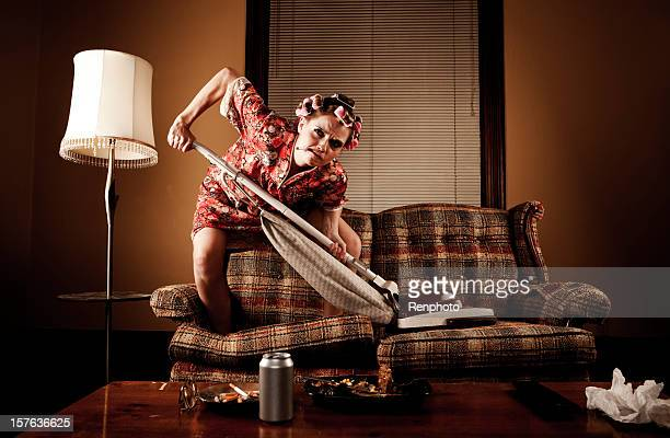 white trash series: cleaning the couch - redneck woman stock photos and pictures