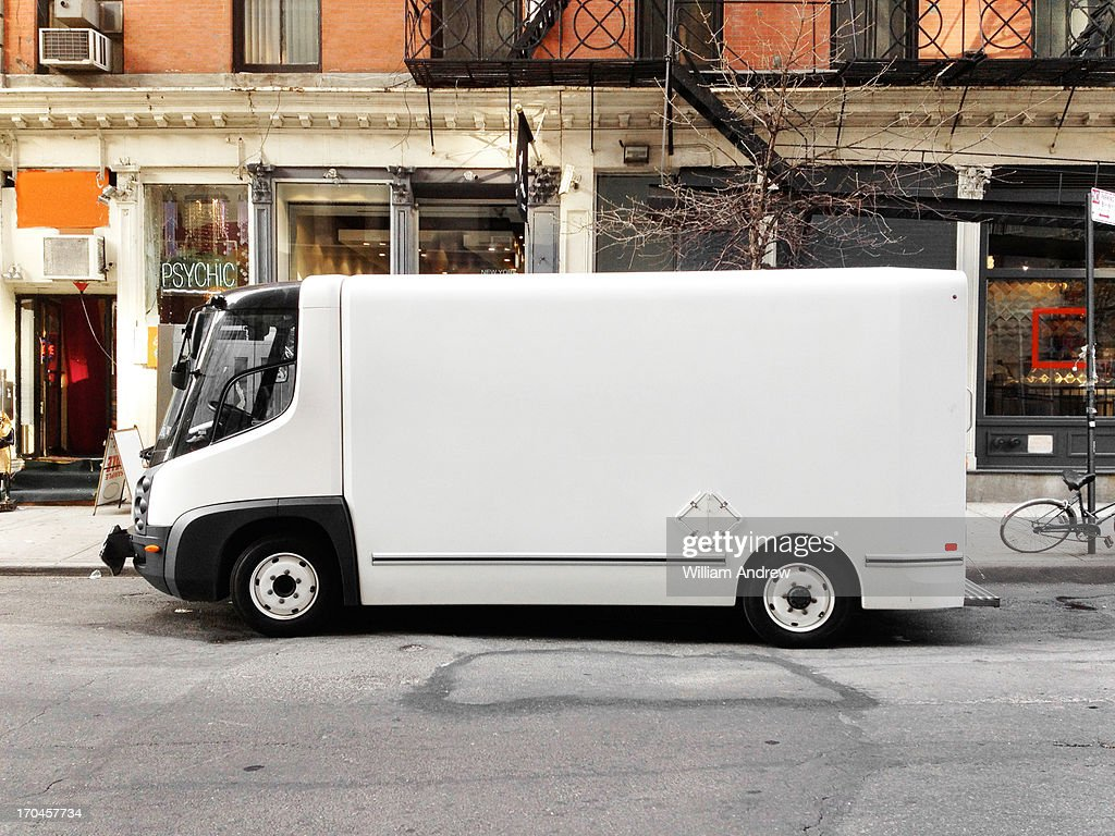 White truck in city street, NYC : Foto stock