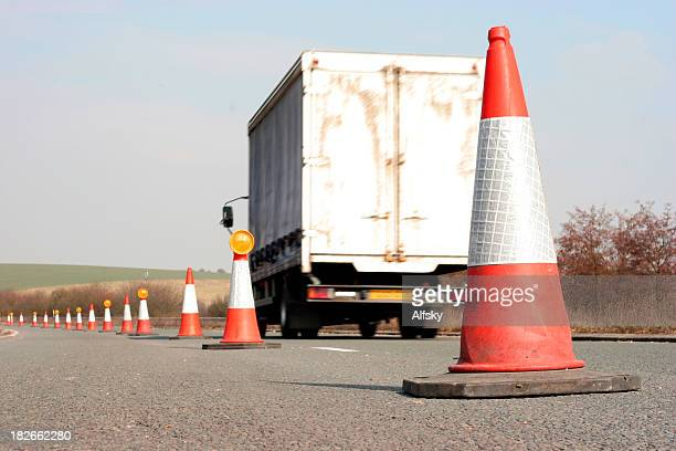 white truck - traffic cone stock pictures, royalty-free photos & images