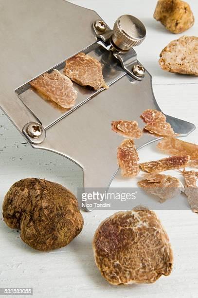 White truffles and truffle slicer
