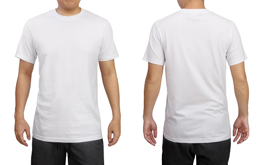 White t-shirt on a young man isolated on white background. Front and back view. 1149035726