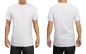 White t-shirt on a young man isolated on white background. Front and back view.