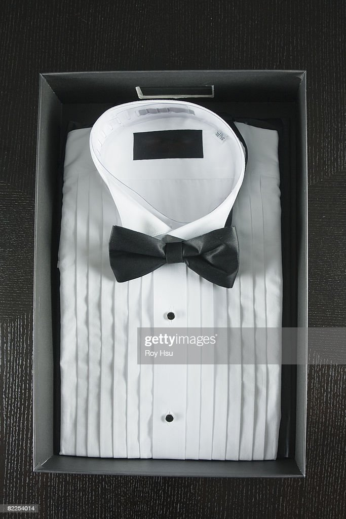 White Tuxedo Shirt in box : Stock Photo
