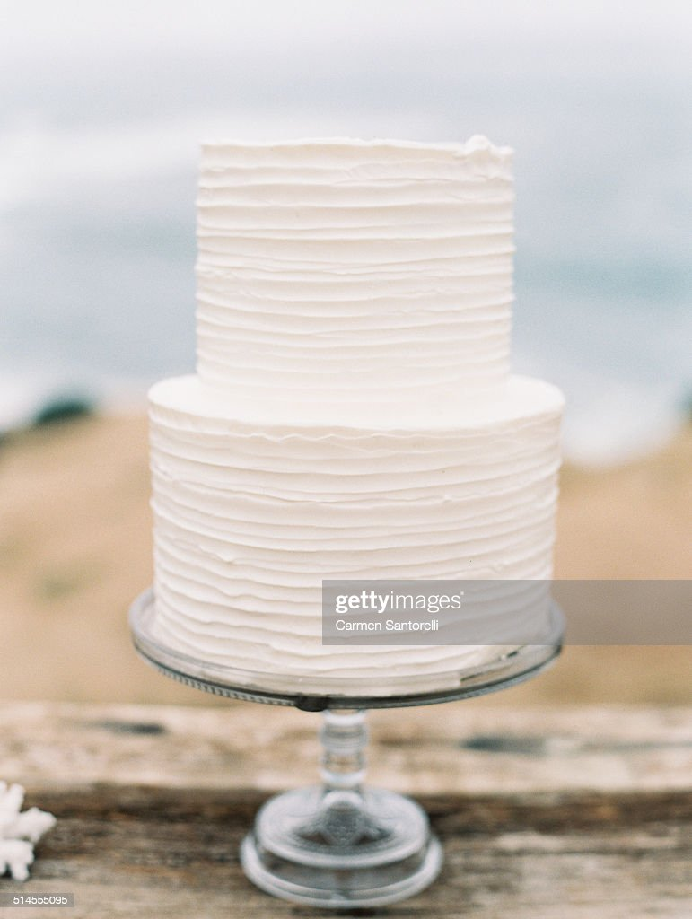 White Two Tier Wedding Cake Stock Photo