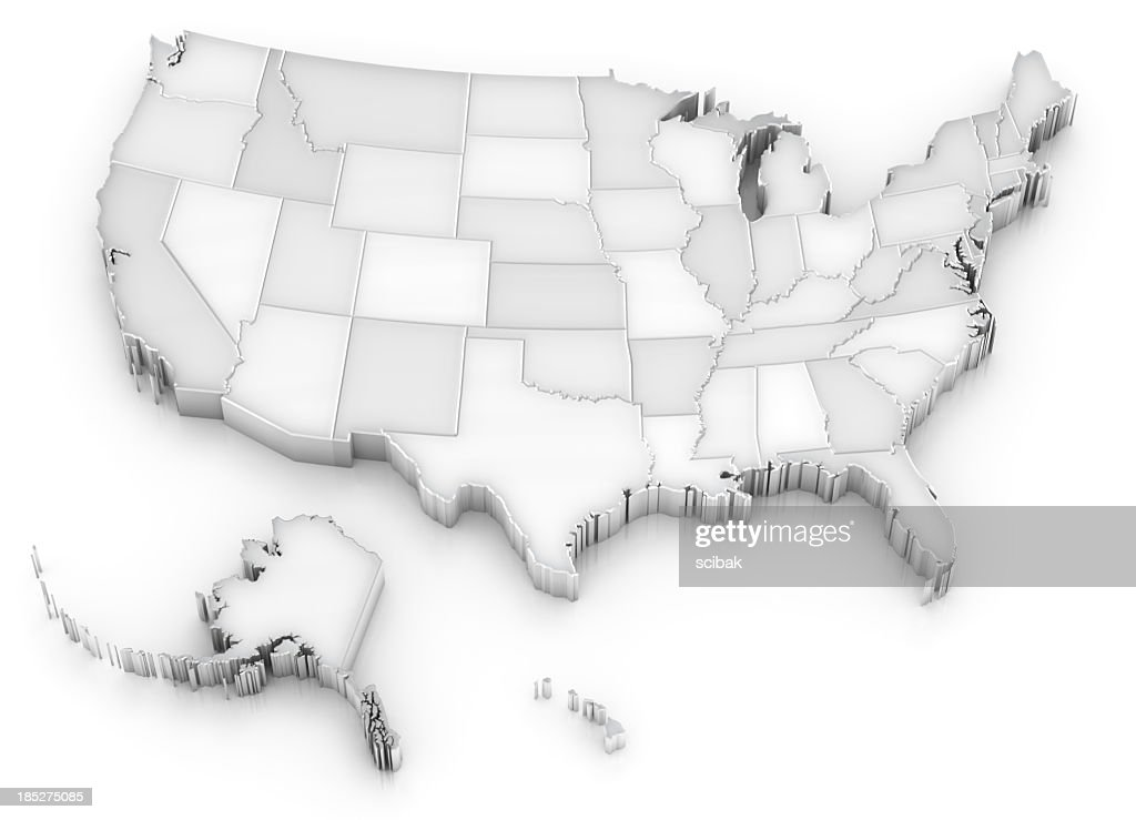 White USA map with states (also Alaska and Hawaii) : Stock Photo