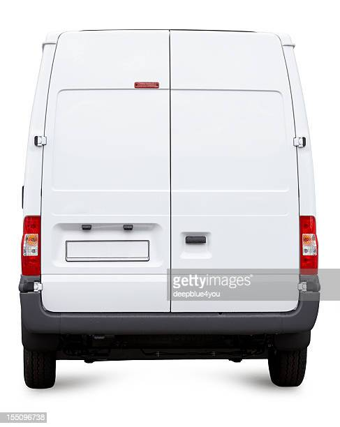 White Van from behind isolated