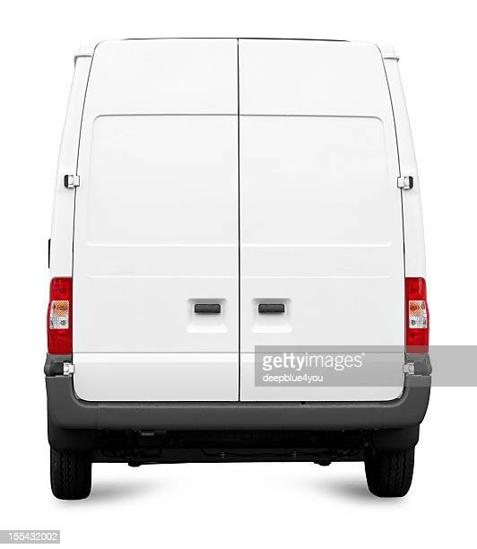 white van from behind isolated - mini van stock photos and pictures