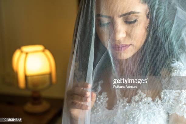 white veil - wedding veil stock photos and pictures