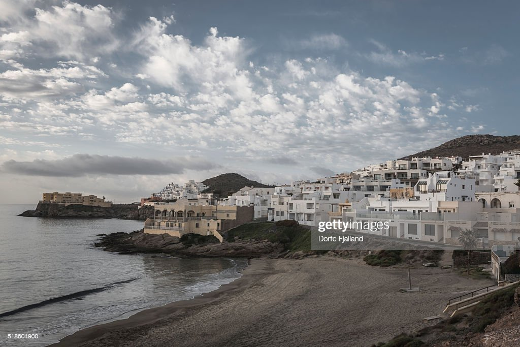 White village by the sea : Foto de stock