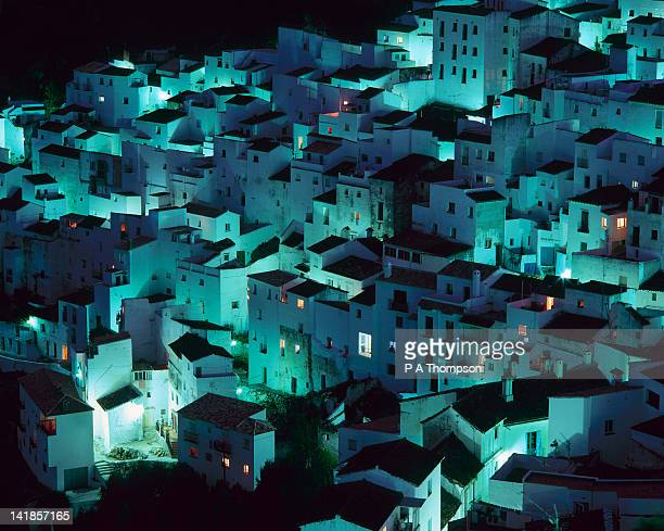 white village of casares at night, andalusia, spain - indigo casares fotografías e imágenes de stock